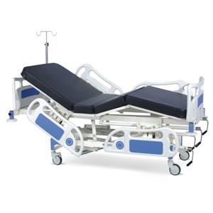 Manually Operated ICU Bed With Polymer Head and Foot boards, Polymer railings, Mattress and Castors