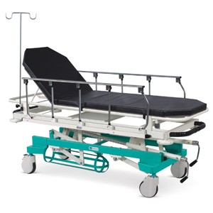 Emergency & Recovery Trolley (Height on Screw Mechanism & Collapsible Railings)  with suitable Mattress