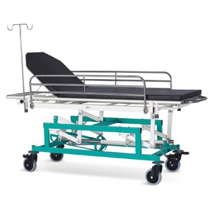 Emergency & Recovery Trolley (Height on Screw Mechanism & Swing Away type Railings)  with suitable Mattress