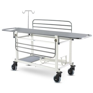 Stretcher on Trolley (MS Framework & SS Stretcher Top) With Railings, I V Rod, MS Tray & Oxygen Cylinder Holder