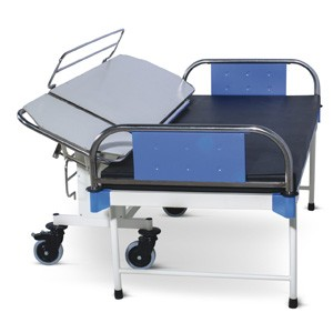 Patient Shifting Trolley - One End Folding, Tiltable Top and SS Roller (MS Framework)