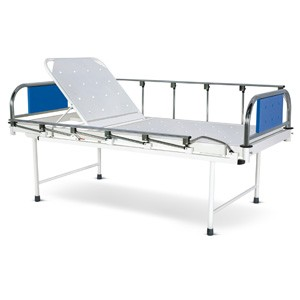 Bed with Backrest adjustment on Ratchet mechanism With SS Head and Foot boards with Colored Metal Panels and Collapsible railings