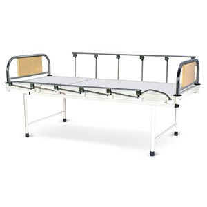 Plain Bed With SS Head and Foot boards with Colored Metal Panels and Collapsible railings