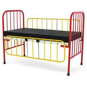 Pediatric Bed With MS Bows , Full length drop side railings and Mattress