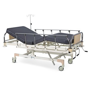 Manually Operated Fixed Height Four Section Recovery Bed With SS Head and Foot boards with Colored Metal Panels, Collapsible railings, Mattress and Castors
