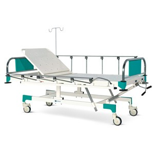 Manually Operated Fixed Height Two Section Recovery Bed With SS Head and Foot boards with Colored Metal Panels, Collapsible railings and Castors