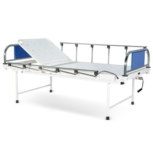 Manually operated Two Section Semi Fowler Bed With SS Head and Foot boards with Colored Metal Panels and Collapsible railings