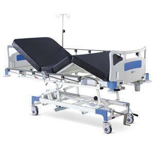 Semi Motorized ICU Bed with Backrest and Height on Motors With Polymer Head and Foot boards, Collapsible railings, Mattress and Castors