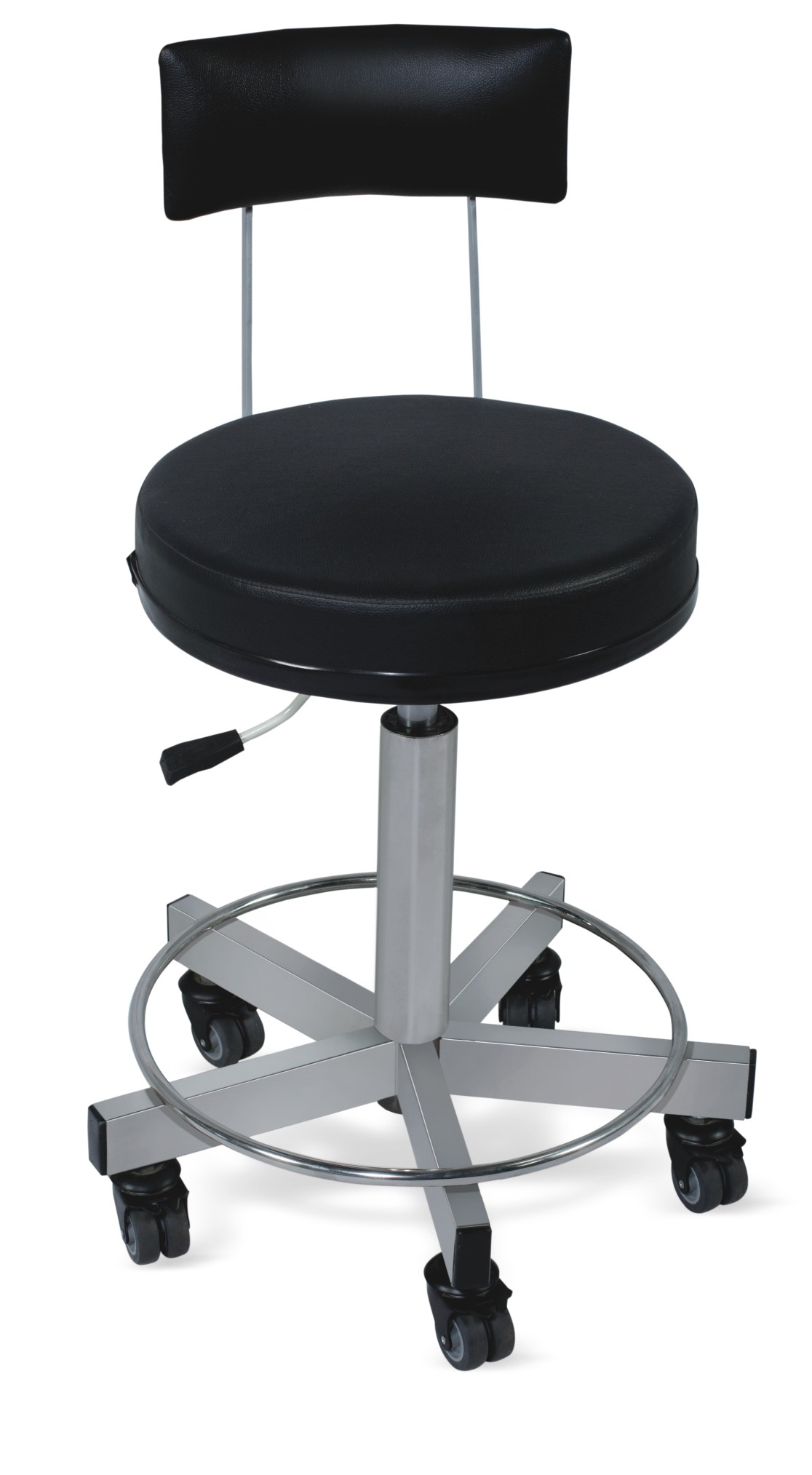 Revolving Stool with Cushioned Seat and Back - SS Framework (Height on Gas Spring)