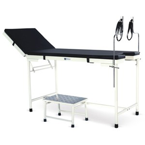 """Gynaec Examination Table with """"U"""" cut, Mattress, SS Lithotomy Rods and SS Bowl"""