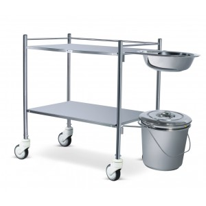 Dressing Trolley - Stainless Steel (with Bowl and Bucket)
