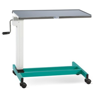 Overbed Table - Plain Stainless steel Top (Height on Geared handle)