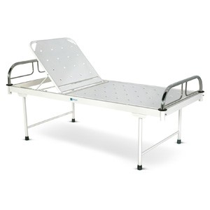 Bed with Backrest adjustment on Ratchet mechanism With SS Head and Foot boards with SS Tubes