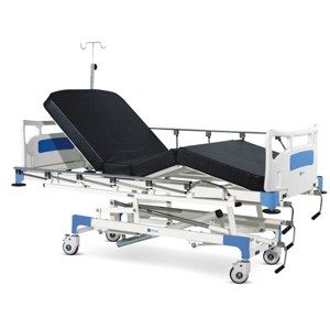 Manually Operated ICU Bed With Polymer Head and Foot boards, Collapsible railings, Mattress and Castors