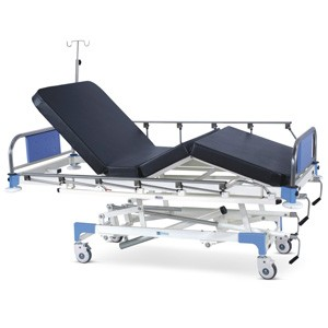 Manually Operated ICU Bed With SS Head and Foot boards with Colored Metal Panels, Collapsible railings, Mattress and Castors
