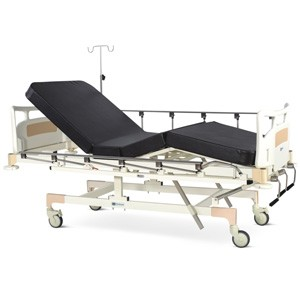 Manually Operated Fixed Height Four Section Recovery Bed With Polymer Head and Foot boards, Collapsible railings, Mattress and Castors
