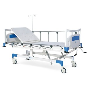 Manually operated Fixed Height Two Section Recovery Bed With Polymer Head and Foot boards, Collapsible railings and Castors