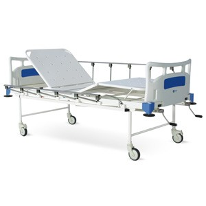 Manually Operated Four Section Fowler Bed With Polymer Head and Foot boards, Collapsible railings and Castors