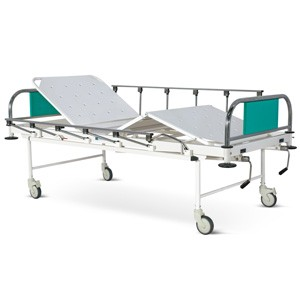Manually Operated Four Section Fowler Bed With SS Head and Foot boards with Colored Metal Panels, Collapsible railings and Castors