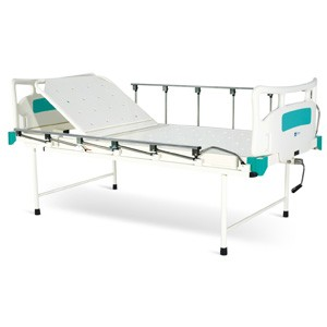 Manually Operated Two Section Semi Fowler Bed With Polymer Head and Foot boards and Collapsible railings