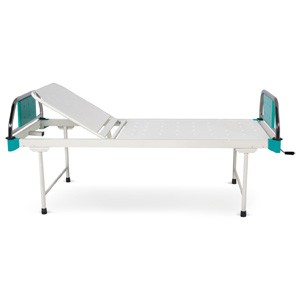 Manually operated Two Section Semi Fowler Bed With SS Head and Foot boards with Colored Metal Panels