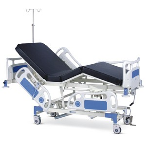 Semi Motorized ICU Bed with Backrest and Height on Motors With Polymer Head and Foot boards, Polymer railings, Mattress and Castors