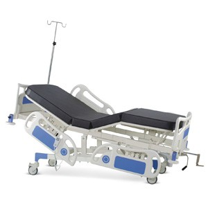 Semi Motorized Fixed Height Four Section Recovery Bed with Backrest and Upper-leg on Motors With Polymer Head and Foot boards, Polymer railings, Mattress and Castors
