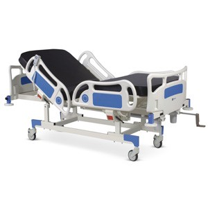 Motorized Four Section Fowler Bed with Backrest and Upper-leg on Motors With Polymer Head and Foot boards, Polymer railings, Mattress and Base Trolley with Castors