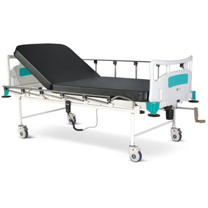 Motorized Two Section Semi Fowler Bed with Backrest on Motor With Polymer Head and Foot boards, Collapsible railings, Mattress and Castors